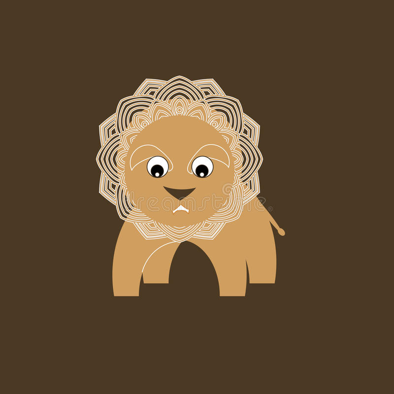 afrikanska djur Liten gladlynt lejonleksak stock illustrationer