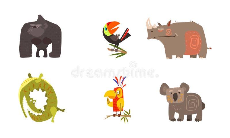 Afrikanska djur uppsättning, gorilla, tukan, noshörning, krokodil, papegoja, koalavektorillustration för gullig tecknad film på e stock illustrationer