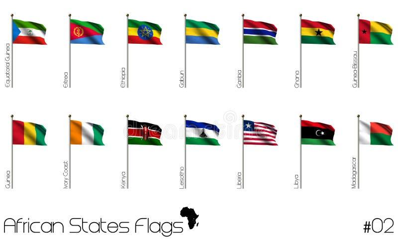 Afrikanska flaggor royaltyfri illustrationer