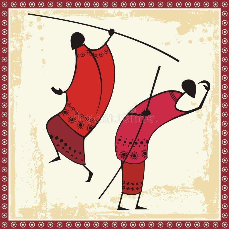 afrikanska illustrationmasaikrigare royaltyfri illustrationer