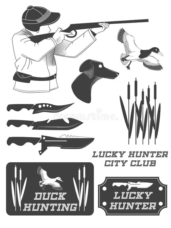 Afrikanska jägaresafarietiketter, emblem och designbeståndsdelar stock illustrationer