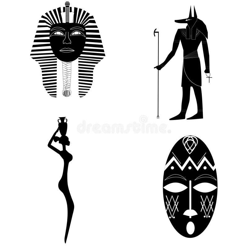 Afrikanska konturer, tradition, historia, religion stock illustrationer
