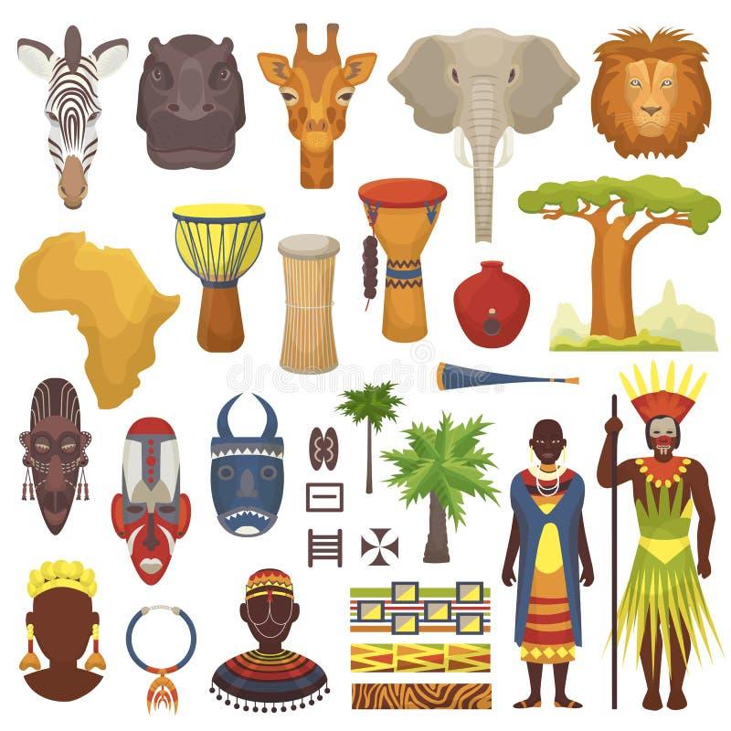 Afrikanska kulturvektortecken i traditionella kläder i Afrika med den etniska stam- maskeringen eller valsar i safari reser stock illustrationer