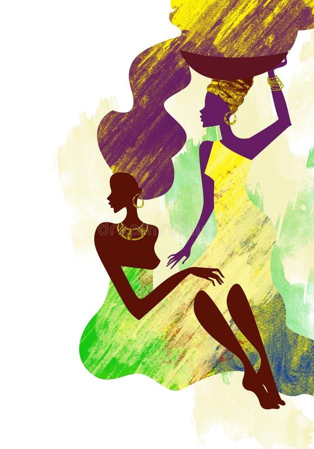 afrikanska kvinnor vektor illustrationer