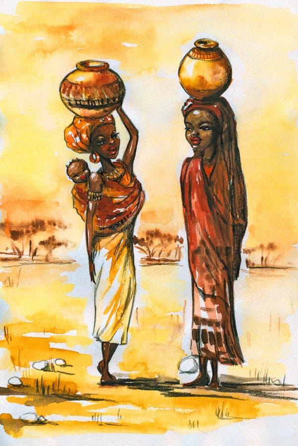 afrikanska kvinnor royaltyfri illustrationer