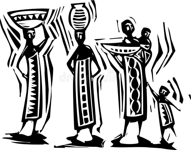 Afrikanska kvinnor stock illustrationer