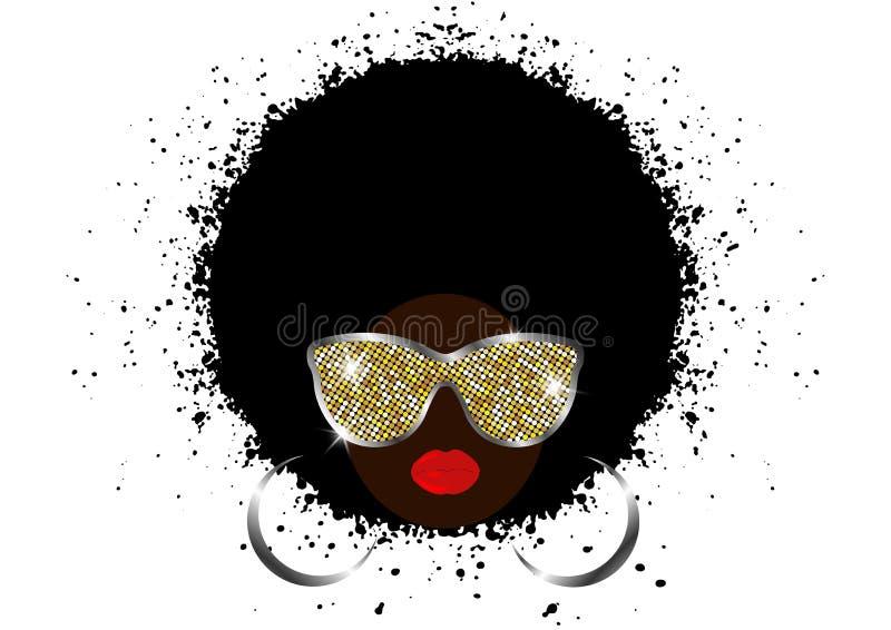 Afrikanska kvinnor för stående, kvinnlig framsida för mörk hud med afro för svart hår och skinande solglasögon för guld- metall i royaltyfri illustrationer