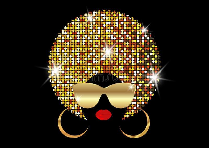 Afrikanska kvinnor för stående, kvinnlig framsida för mörk hud med skinande afro och guld- metallsolglasögon för hår i traditione stock illustrationer
