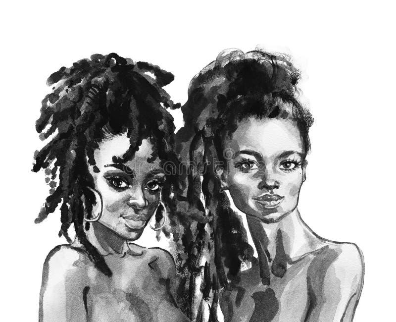 Afrikanska kvinnor för vattenfärg stock illustrationer