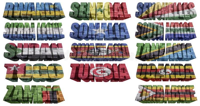 Afrikanska länder (från R till Z) sjunker ord stock illustrationer