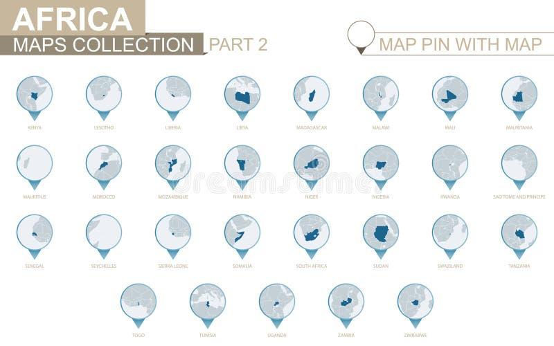 Afrikanska länder specificerade översiktssamlingen, blått översiktsstift med landsöversikten Del 2 vektor illustrationer