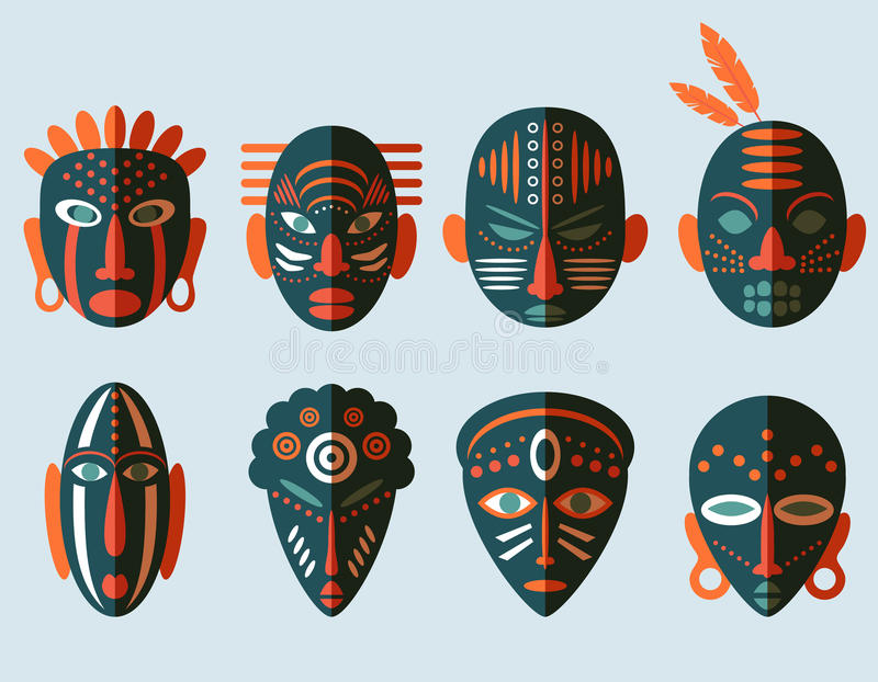 Afrikanska maskeringssymboler vektor illustrationer
