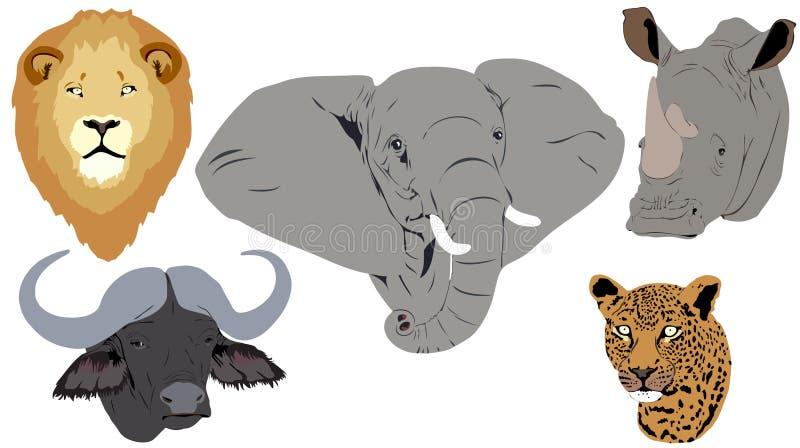 afrikanska stora fem huvud stock illustrationer