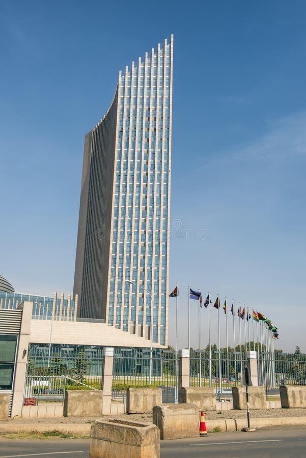 Afrikanska unionens högkvarter som bygger i Addis Ababa som är ethiop royaltyfri bild