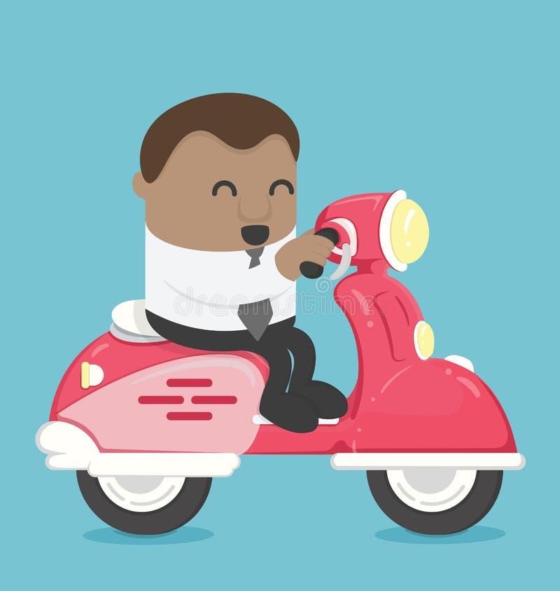 Afrikanskt affärsdrev en sparkcykel vektor illustrationer