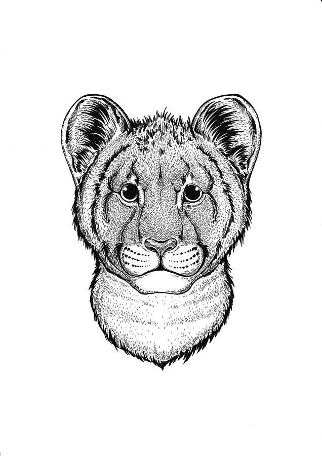 afrikanskt djur wild tiger Litet djur Gulligt tryck för barnkläder vektor illustrationer