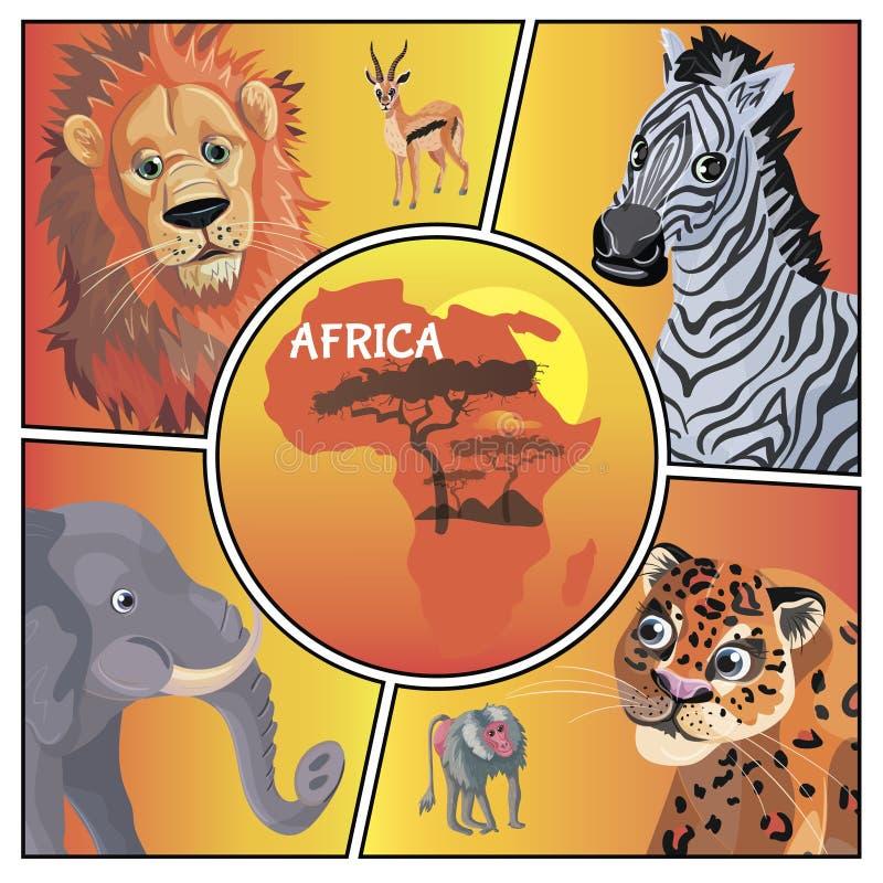 Afrikanskt djurbegrepp f?r tecknad film royaltyfri illustrationer