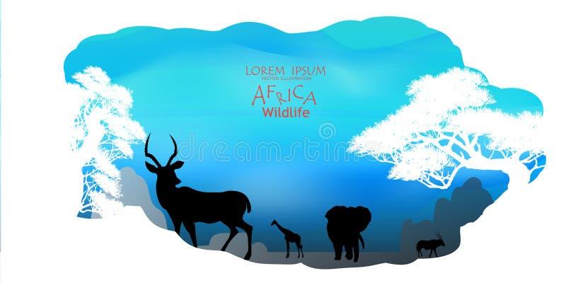 afrikanskt djurliv för bakgrundsnaturserie mot bakgrund field blåa oklarheter för grön vitt wispy natursky för gräs Afrikansk sav stock illustrationer