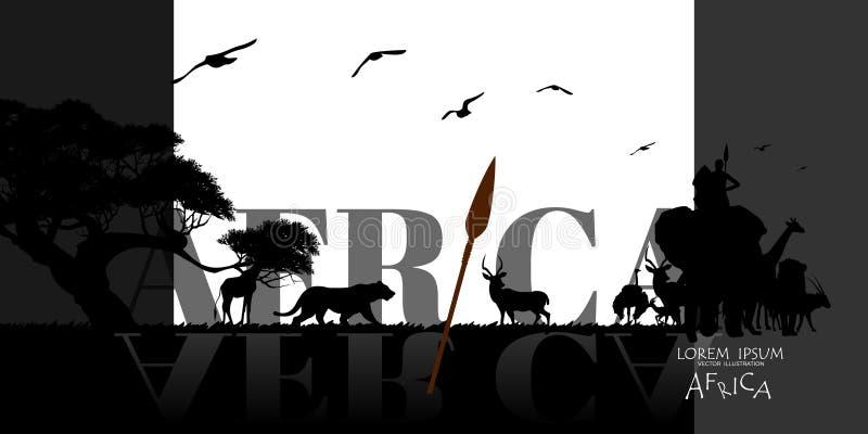 afrikanskt djurliv för bakgrundsnaturserie vektor av det africa djurlivkortet royaltyfri illustrationer