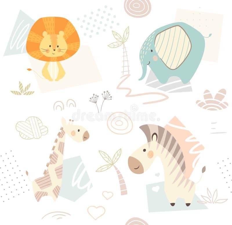 Afrikanskt gulligt djurt tryck vektor illustrationer