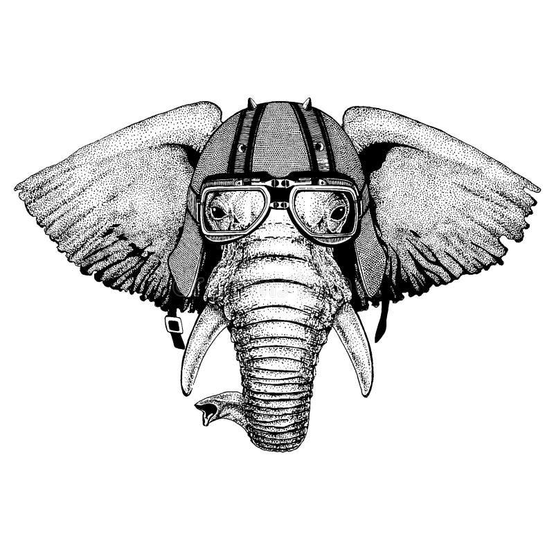 Afrikanskt indiskt, elefant som bär en motorcykel, aero hjälm Utdragen bild för hand för tatueringen, t-skjorta, emblem, emblem,  vektor illustrationer