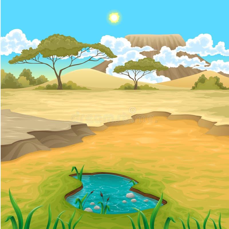 Afrikanskt landskap vektor illustrationer