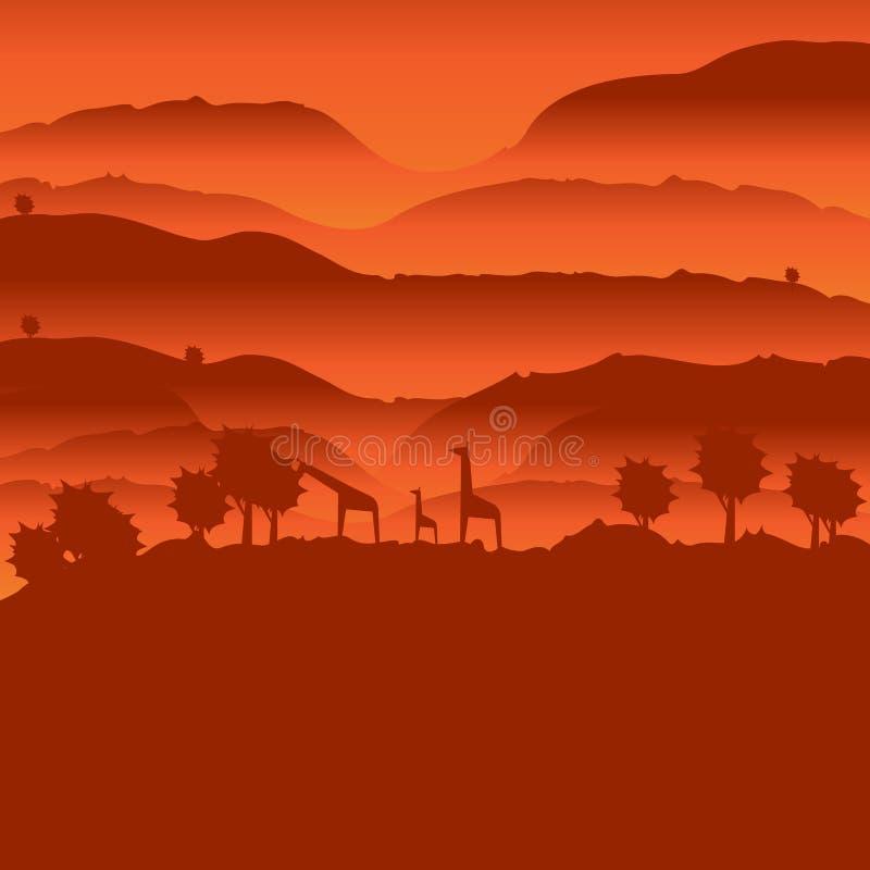 Afrikanskt landskap med den djura konturn stock illustrationer
