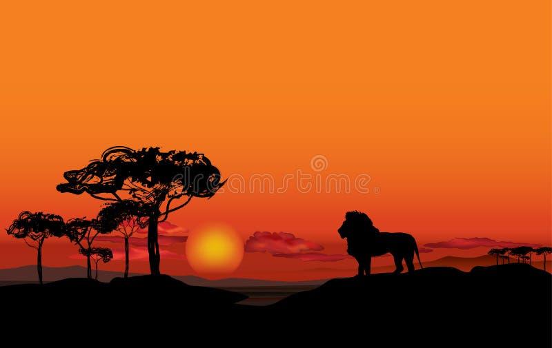 Afrikanskt landskap med den djura konturn Savannsolnedgångbackgro royaltyfri illustrationer