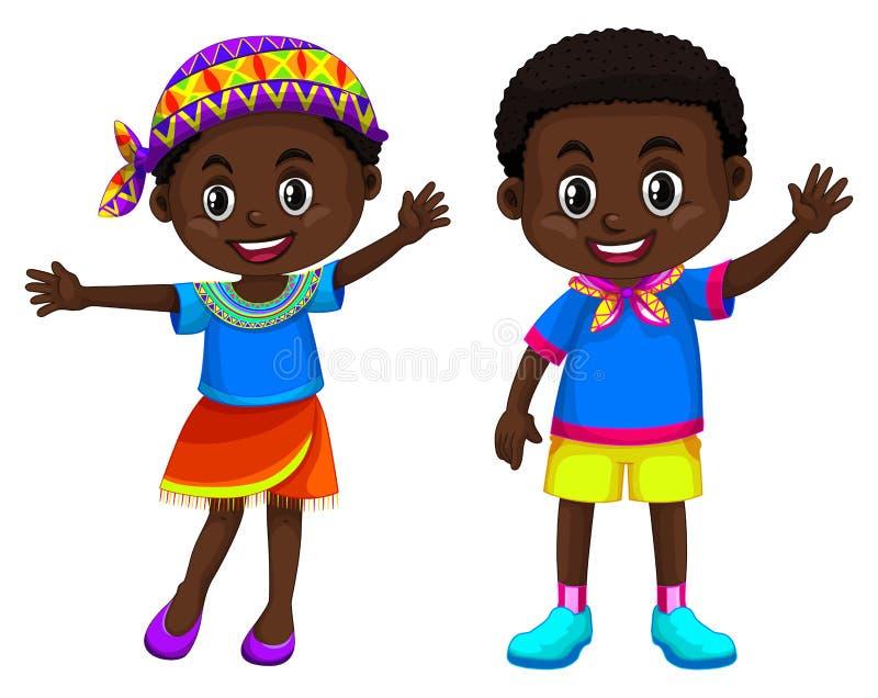 Afrikanskt le för pojke och för flicka stock illustrationer
