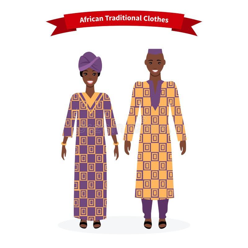 Afrikanskt traditionellt kläderfolk vektor illustrationer