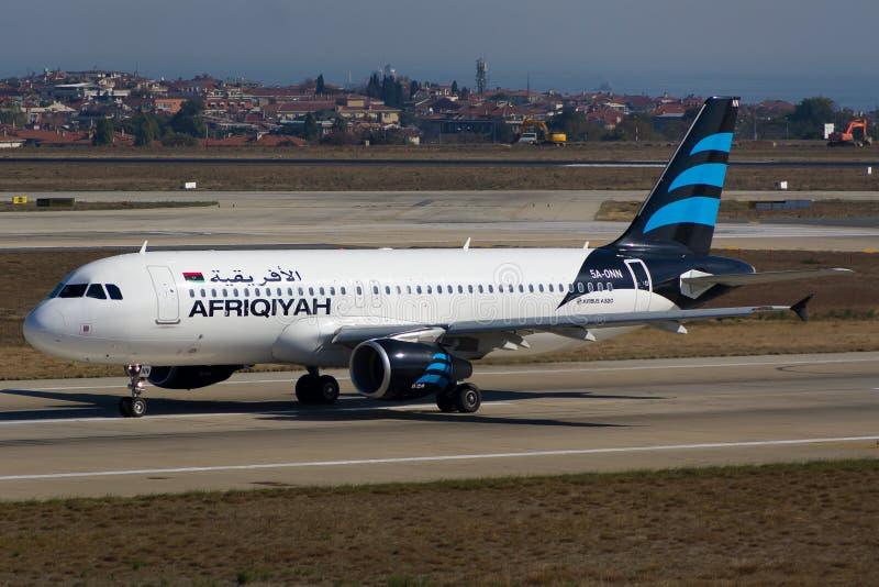 Afriqiyah Airways-Luchtbus royalty-vrije stock afbeeldingen