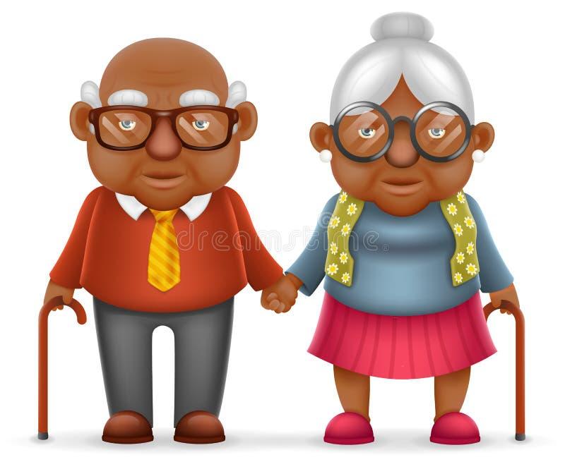 Afro αμερικανική χαριτωμένη χαμόγελου ευτυχής ηλικιωμένη ζεύγους παλαιά ανδρών αγάπης γυναικών παππούδων οικογένεια κινούμενων σχ διανυσματική απεικόνιση