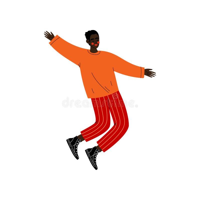 Afro-américain heureux Guy Jumping, jeune homme dans des vêtements sport célébrant l'événement important, soirée dansante, amitié illustration de vecteur