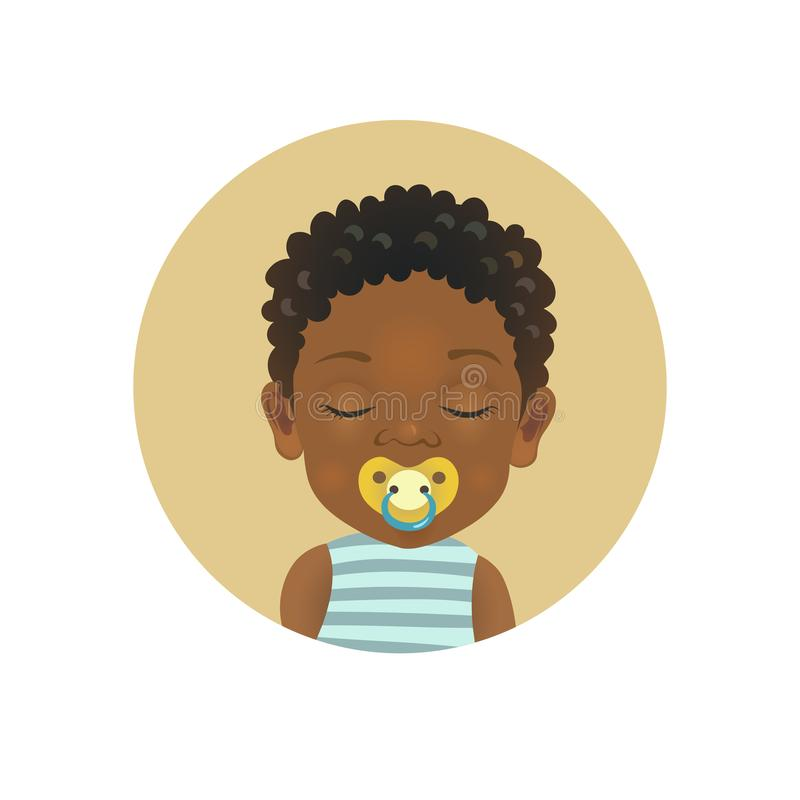 Afro American African sleeping child with soother pacifier. Dark-skinned toddler sleep with dummy facial expression. Cute Afro American baby sleeping with a stock illustration