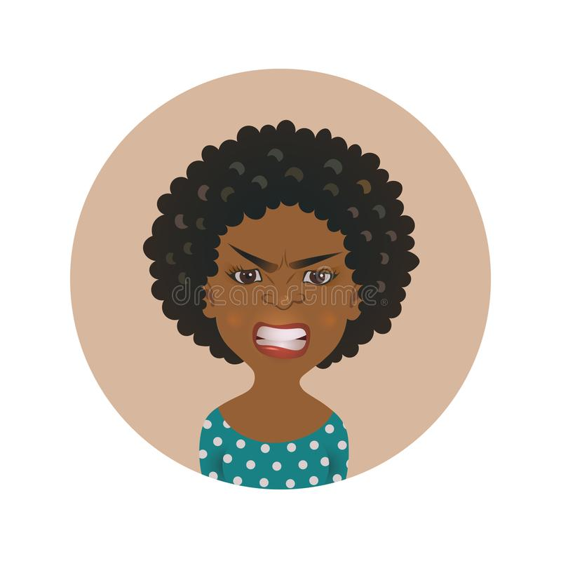 Afro American angry woman face avatar. African girl anger facial expression. Dark-skinned person in rage. royalty free illustration