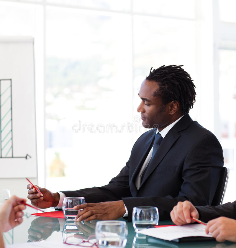 Afro-American businessman in a meeting royalty free stock photos