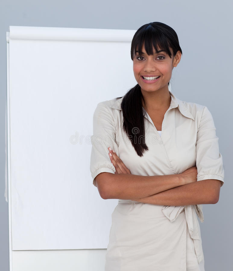 Afro-American businesswoman giving a presentation royalty free stock photo