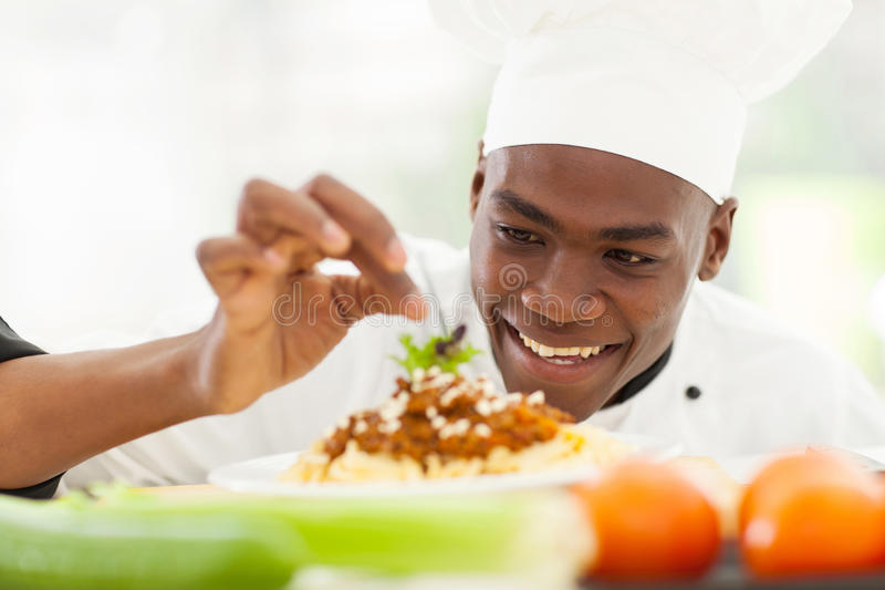 Afro American chef stock photography