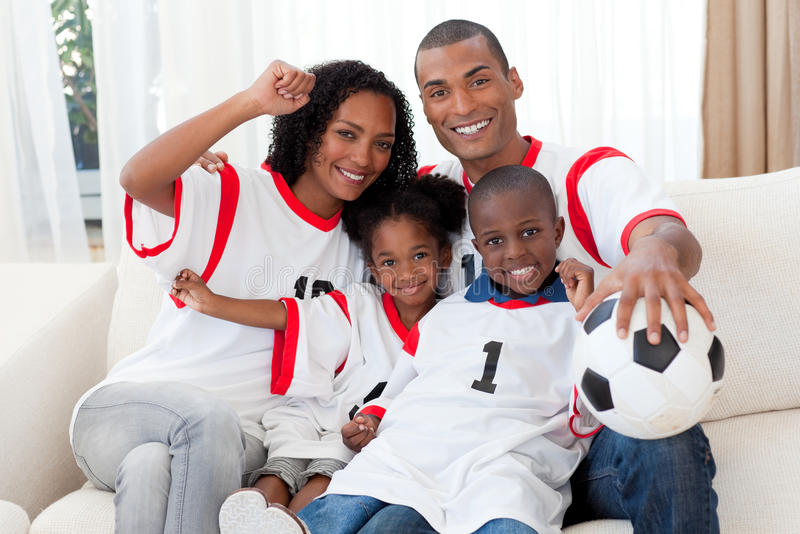Download Afro-American Family Celebrating A Football Goal Royalty Free Stock Photography - Image: 11943097