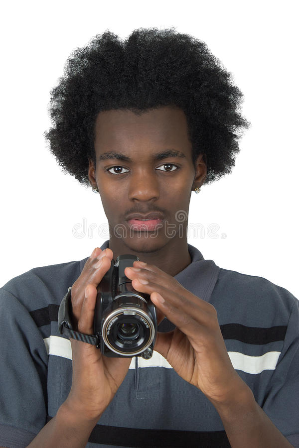Download An Afro American Film With A Camera Black Isolated Stock Photo - Image: 23122130