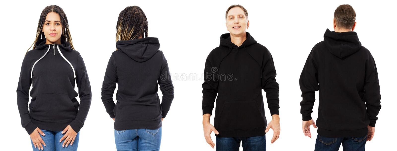 Afro american girl in black hoodie front and back view, man in black sweatshirt set collage isolated on white background, hood royalty free stock images