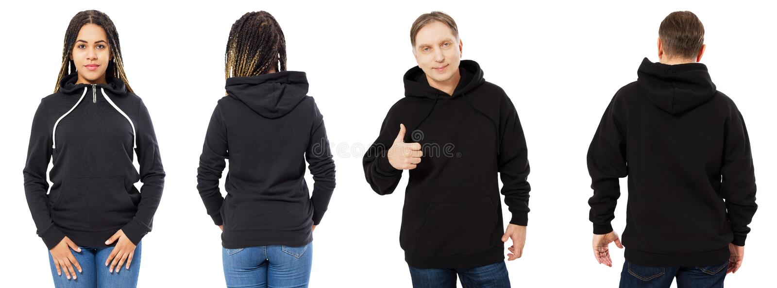 Afro american girl in black hoodie front and back view, man in black sweatshirt set collage isolated on white background, hood stock photo