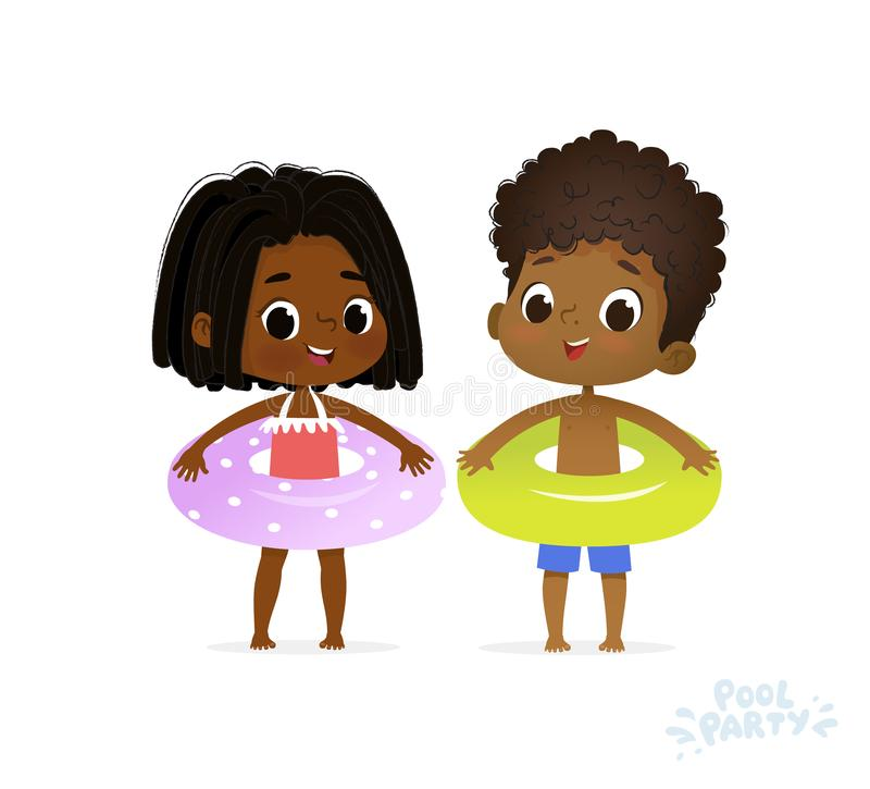 Afro American Girl and Boy in Joy Swimming Pool. Fun Summer Vacation on Sea. Character Children Birthday Party. Happy royalty free illustration