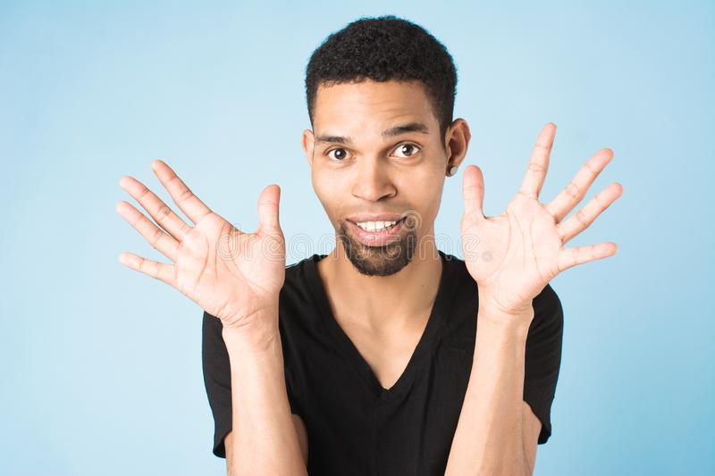 Afro american guy in black t-shirt royalty free stock photo