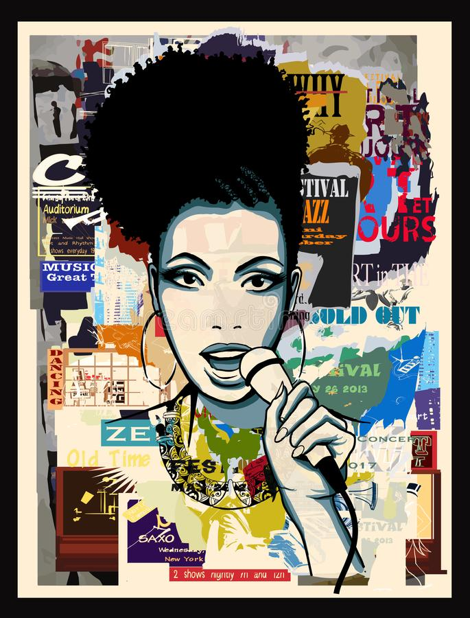 Afro-american jazz singer on wallpaper vector illustration