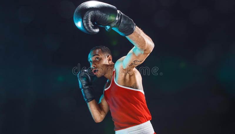 Afro american male boxer. royalty free stock photography