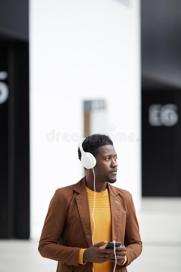 Afro-American man listening to music stock photos