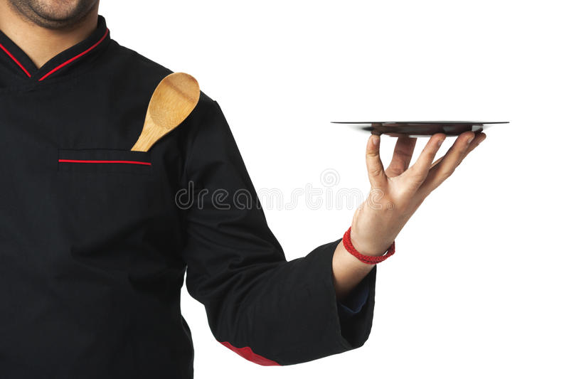 Afro American professional cook holding plate - isolated on whit. E background royalty free stock photography