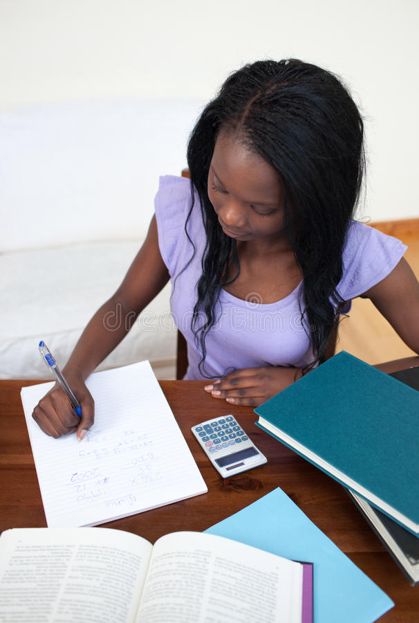 Download Afro-American Teen Girl Doing Her Homework Stock Image - Image: 13861113