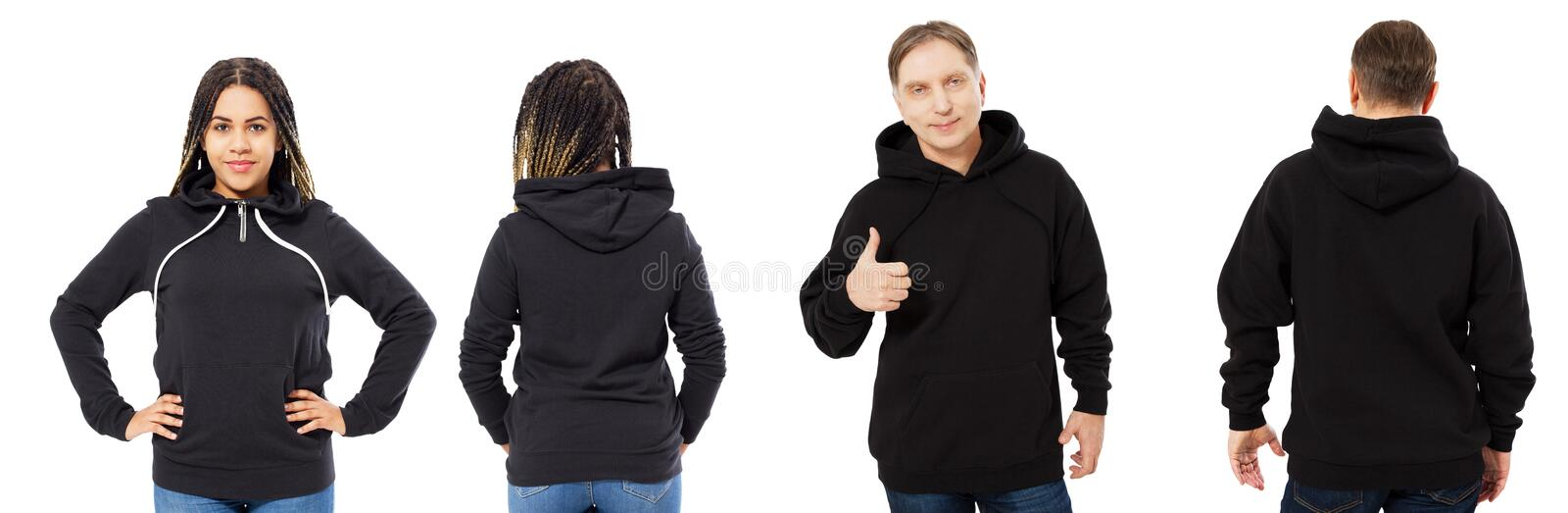Afro american woman in hoodie mockup, man in empty hood front and back view isolated over white, hoodie set female and male stock images